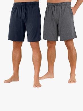 wäschepur Hose kurz - blau + grau-meliert