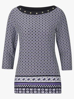 Shirt - lila-schwarz-gemustert