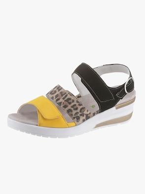 Sandale - schwarz-gelb-gemustert