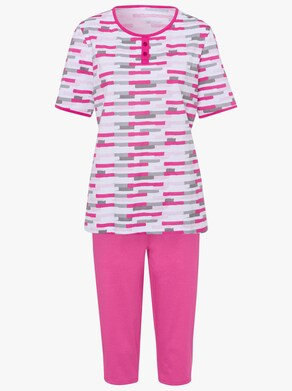 Capri-Schlafanzug - weiß-rosé-bedruckt