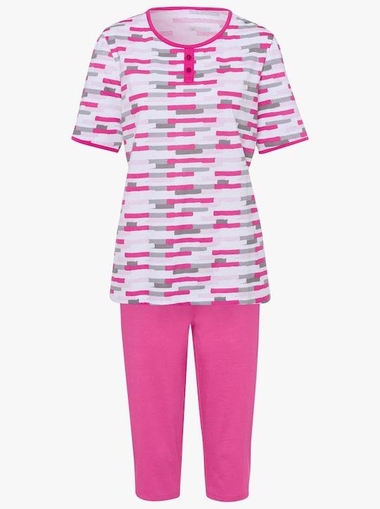 Capri-pyjama - wit/roze geprint