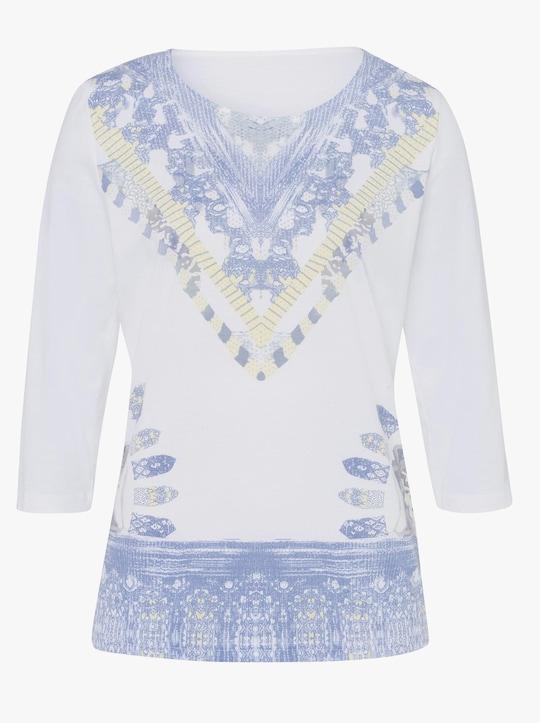 Shirt - wit/jeansblauw gedessineerd