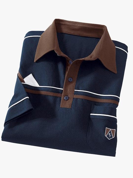 Polokošile - námořnická modrá-hnědá