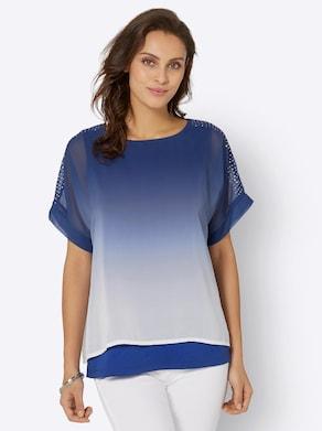 Bluse - royalblau-weiß-bedruckt