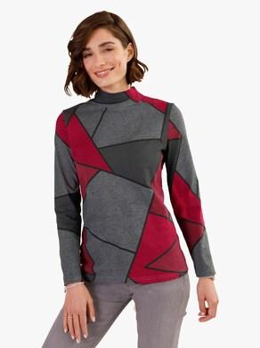 Tričko - Sivo-červený vzor