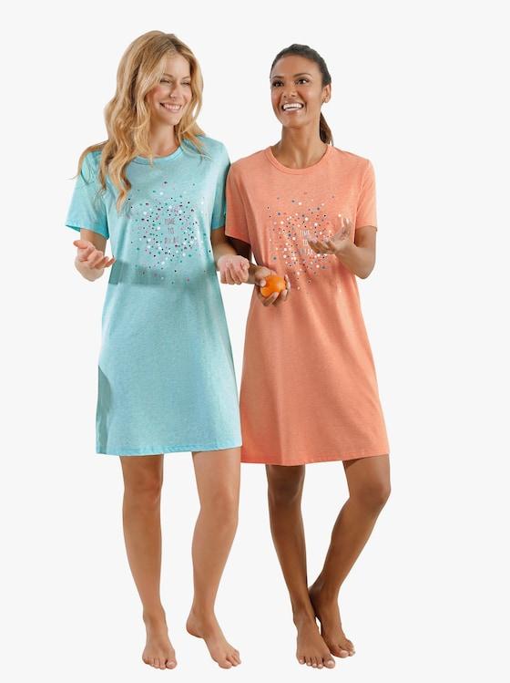 Sleepshirts - mint-meliert + orange-meliert
