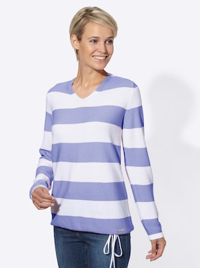 Collection L Pullover - lavendel/wit gestreept