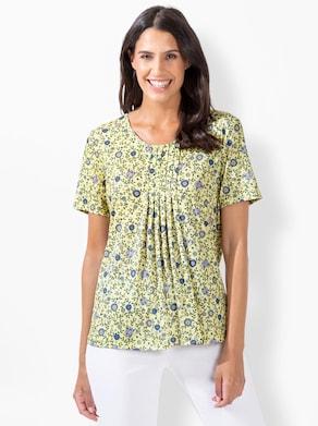 Shirt - zitrone-jeansblau-bedruckt