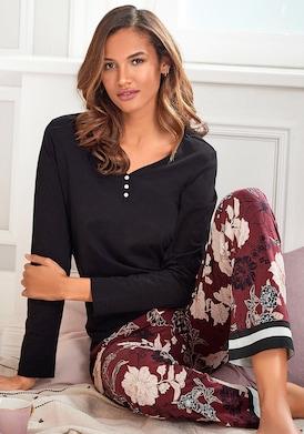 s.Oliver Pyjama - schwarz-bordeaux-mehrfarbig-geblümt