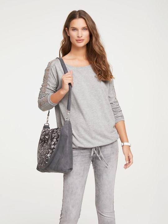 Linea Tesini Spitzen-Shirt - grau-melange