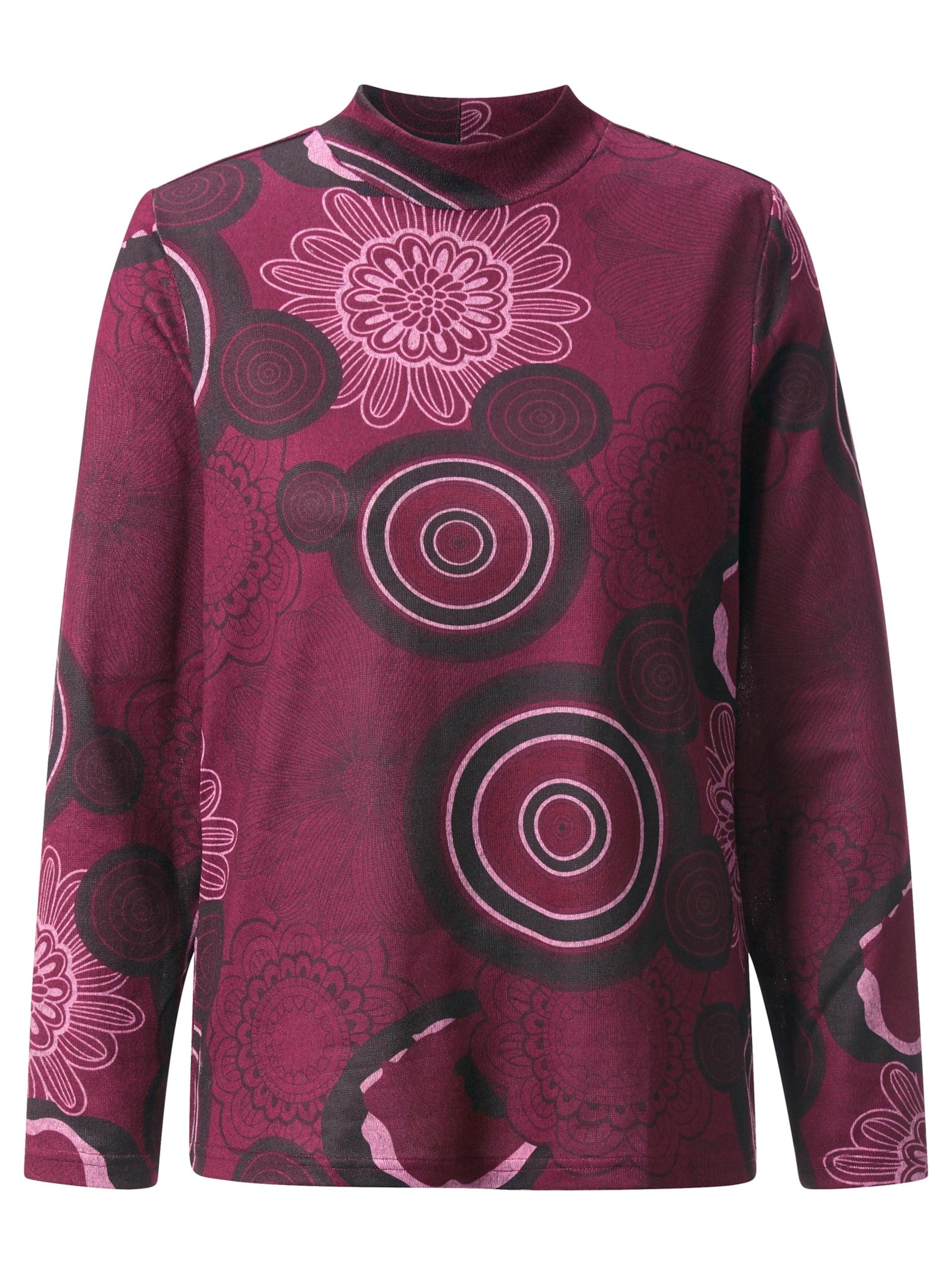 witt weiden -  Damen Winter-Shirt bordeaux-bedruckt