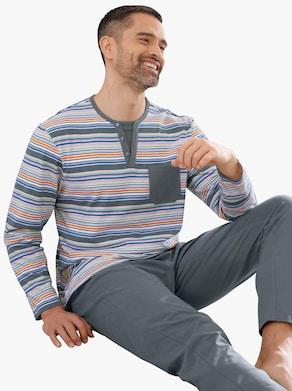 Schlafanzug - grau-gestreift