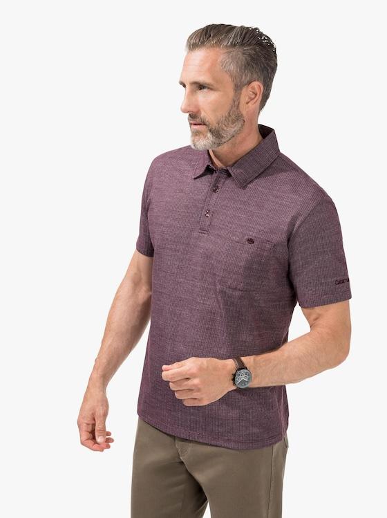 Kurzarm-Poloshirt - bordeaux-gemustert