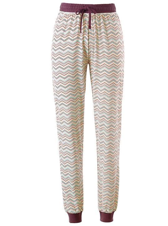 wäschepur Schlafanzug-Hose - bordeaux-zick-zack