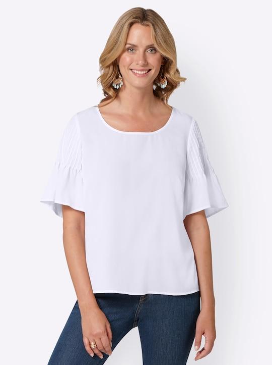 Kurzarm-Bluse - weiß