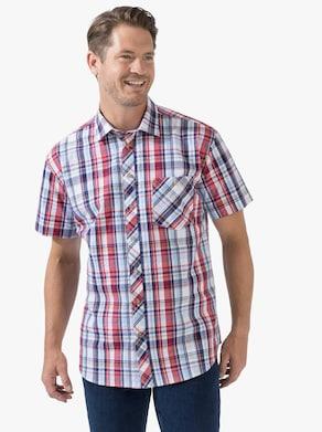 Košeľa s krátkymi rukávmi - Červené károvanie