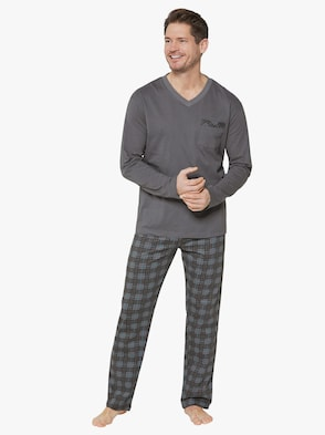 Schlafanzug - grau-kariert