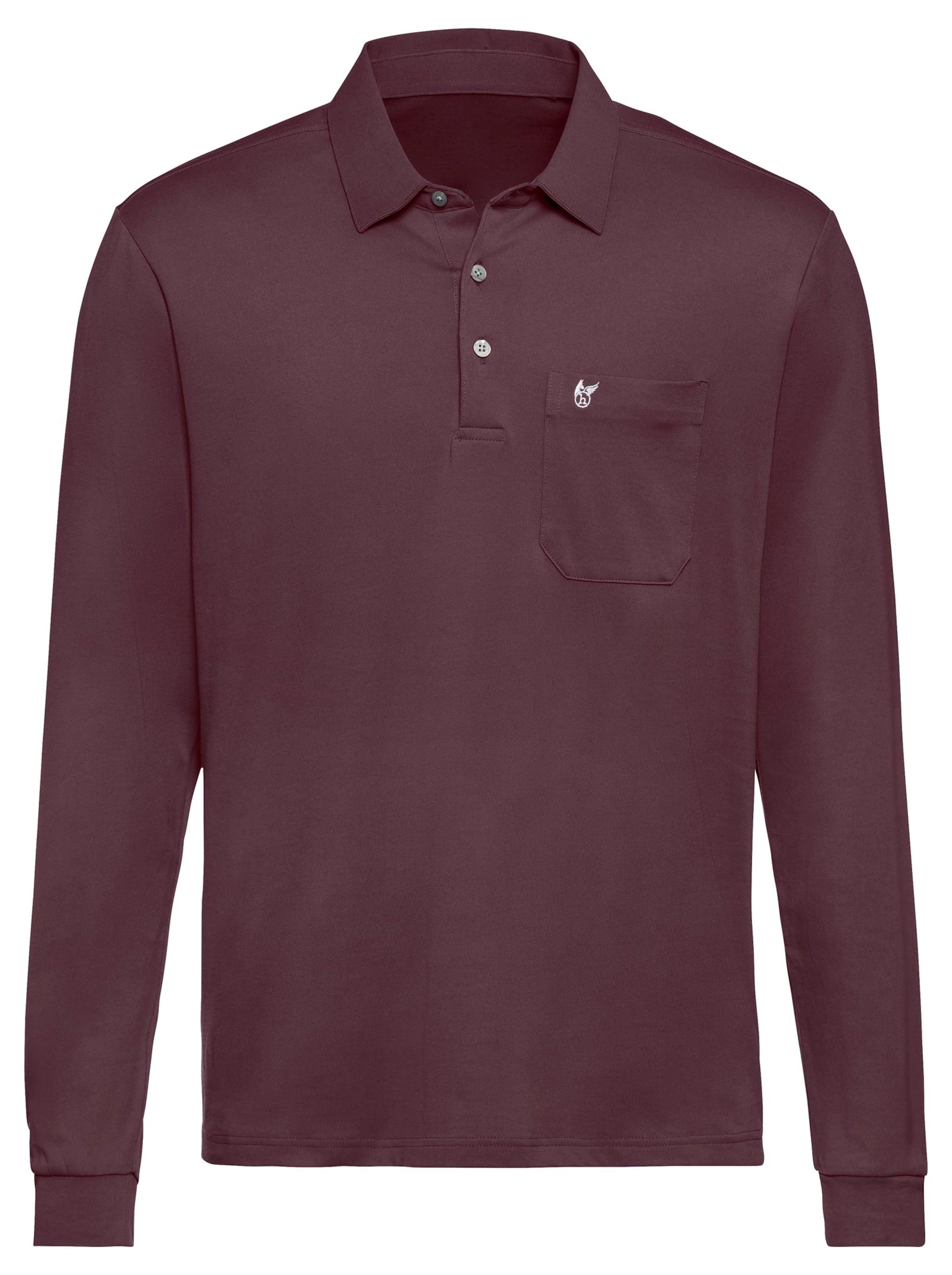 hajo - Witt Weiden Herren Langarm-Poloshirt burgund