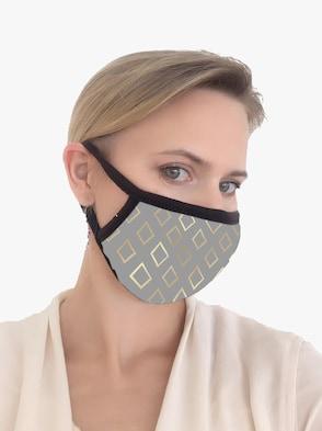 Mund-Nasen-Maske - grau-bedruckt