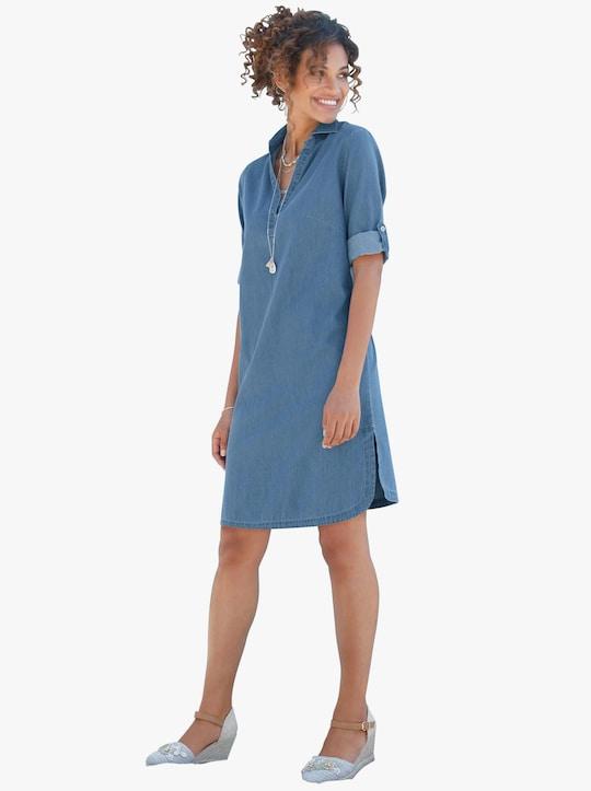 Džínové šaty - bělená modrá