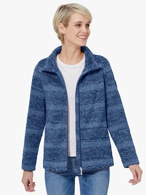 Flaušová bunda - modrá melírovaná