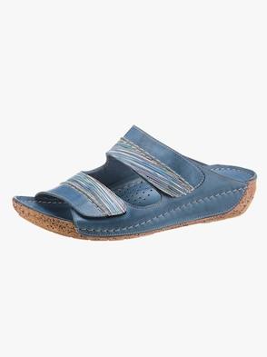 Pantolette - jeansblau-gestreift