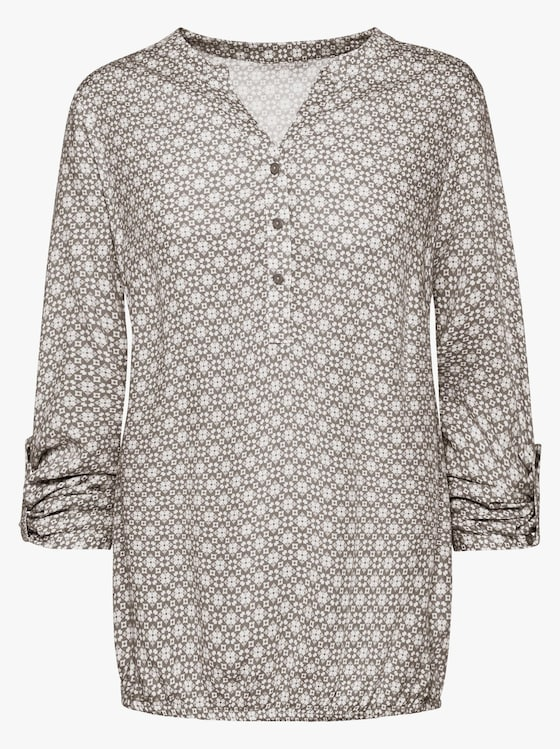 Bluse - taupe-weiß-gemustert