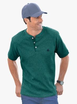 Kurzarm-Shirt - smaragd-meliert