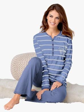Schlafanzug - blau-bedruckt