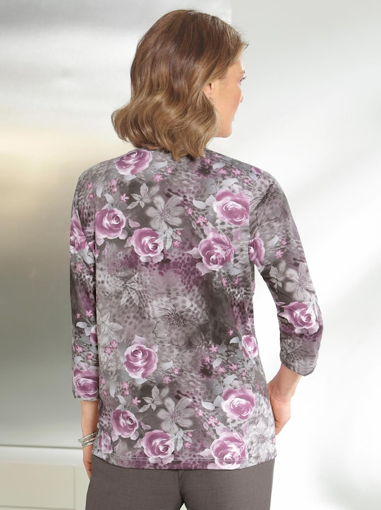 Winter-Shirt - altrosé-grau-bedruckt