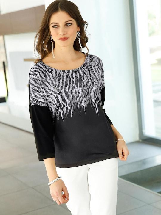Shirt - schwarz-ecru-gemustert