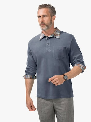Langarm-Poloshirt - jeansblau