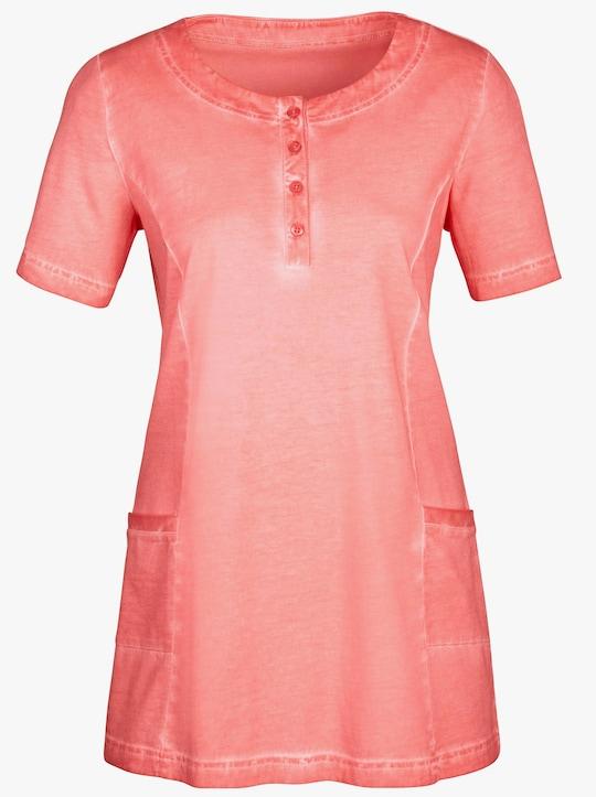 Lang shirt - koraalrood