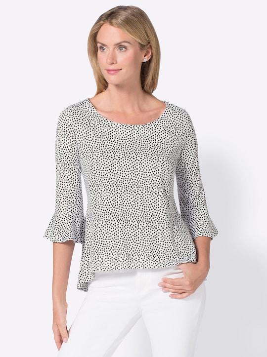 Shirt - wit/zwart gestippeld