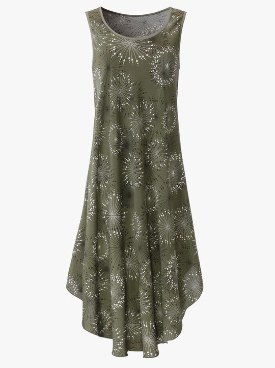 Kleid - khaki-graphit-bedruckt