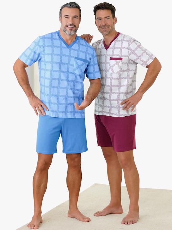 KINGsCLUB Krátká pyžama - modrá+bordó