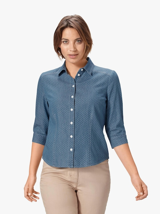 Jeansbluse - blue-bleached-getupft