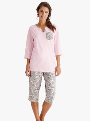 Capri-pyjama - roze/grijs geprint
