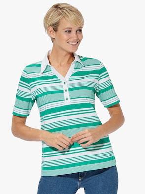 Poloshirt - smaragd-weiß-gestreift