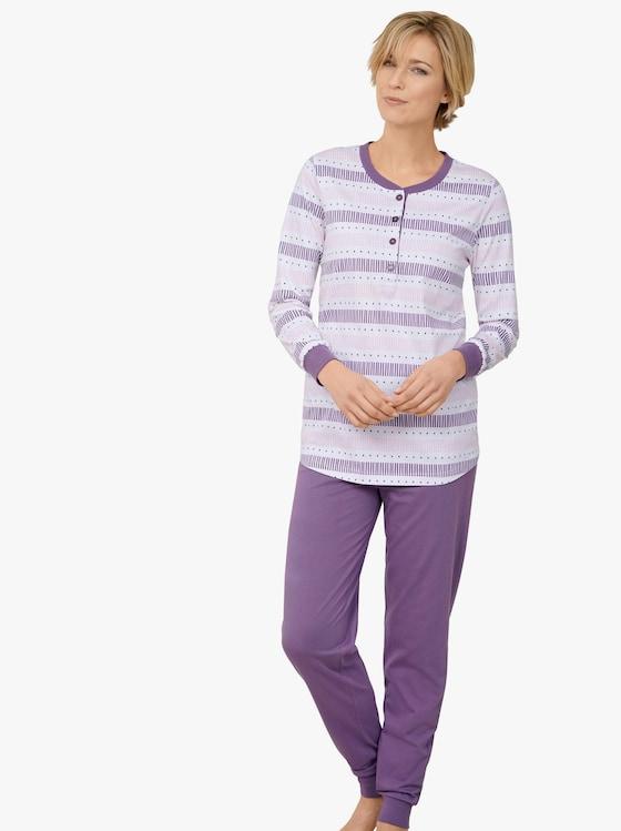 Schlafanzug - lila-gemustert