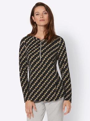 Shirt - schwarz-ocker-bedruckt