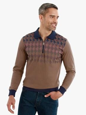 Poloshirt - bruin gedessineerd