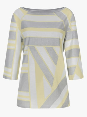 Schlafanzug - grau-gelb-gemustert