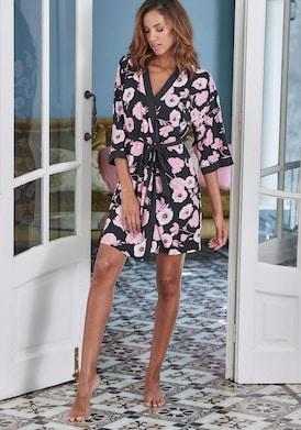 LASCANA Kimono - rosa-schwarz-gemustert