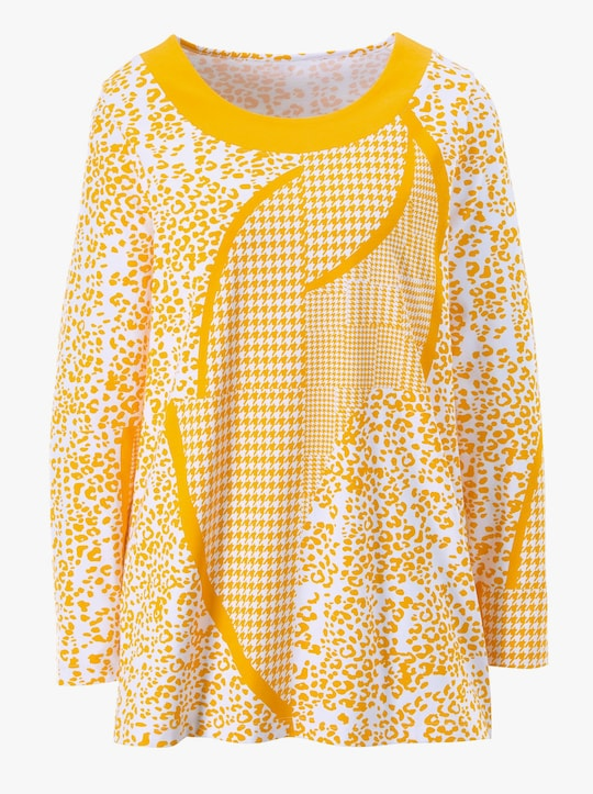 Lang shirt - geel gedessineerd