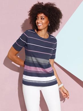 Shirt - nachtblau-altrosa-geringelt