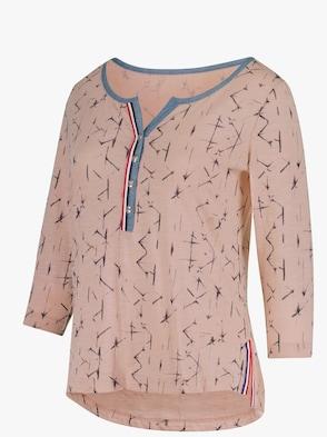 Shirt - rosé-blau-bedruckt