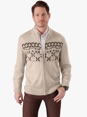 Pletený sveter - kamienková vzorovaná