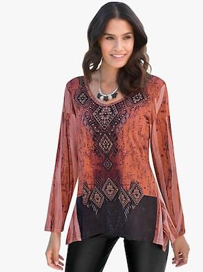 Shirt - schwarz-rost-gemustert