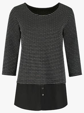 Longshirt - schwarz-silberfarben